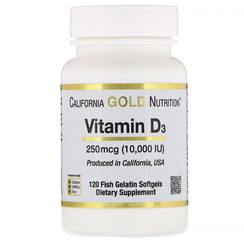 Dental Supps Vitamin D3, 250 mcg (10,000 IU), 120 Fish Gelatin Softgels