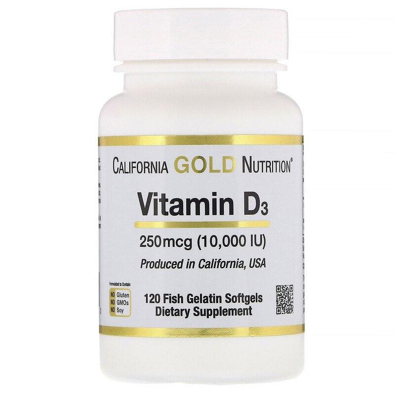 Dental Supps Vitamin D3, 250 mcg (10,000 IU), 120 Fish Gelatin Softgels