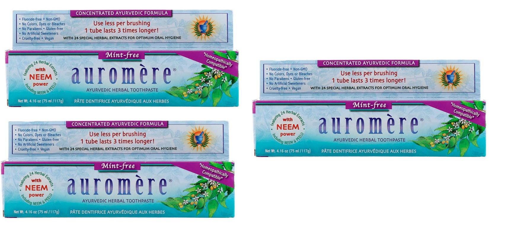 Dental Supps Auromere, Ayurvedic Herbal Toothpaste, Mint-free, 4.16 Oz, 3-pack
