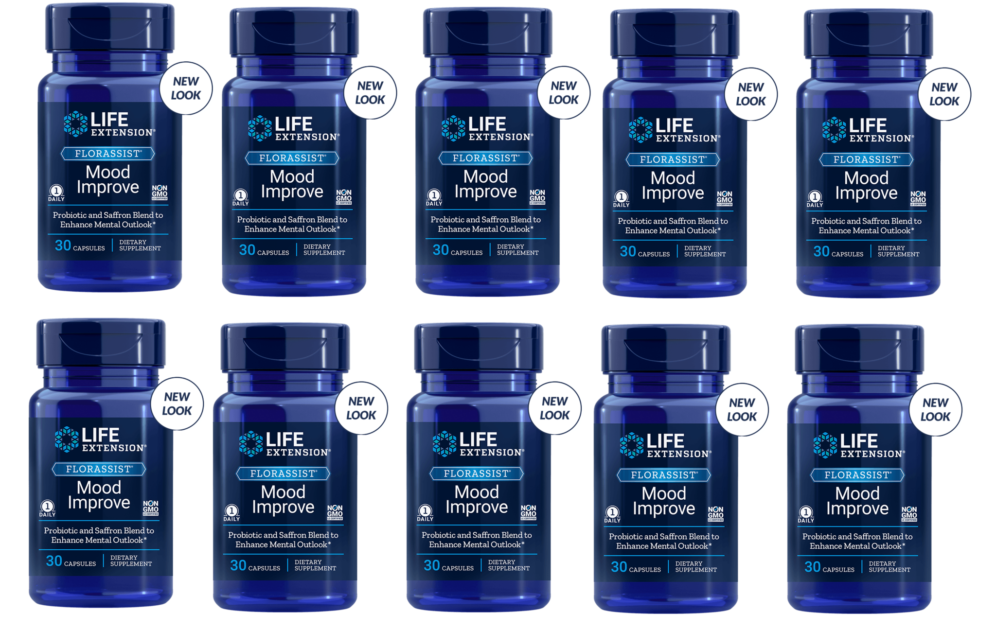 Life Extension FLORASSIST® Mood Improve, 30 Capsules, 10-pack