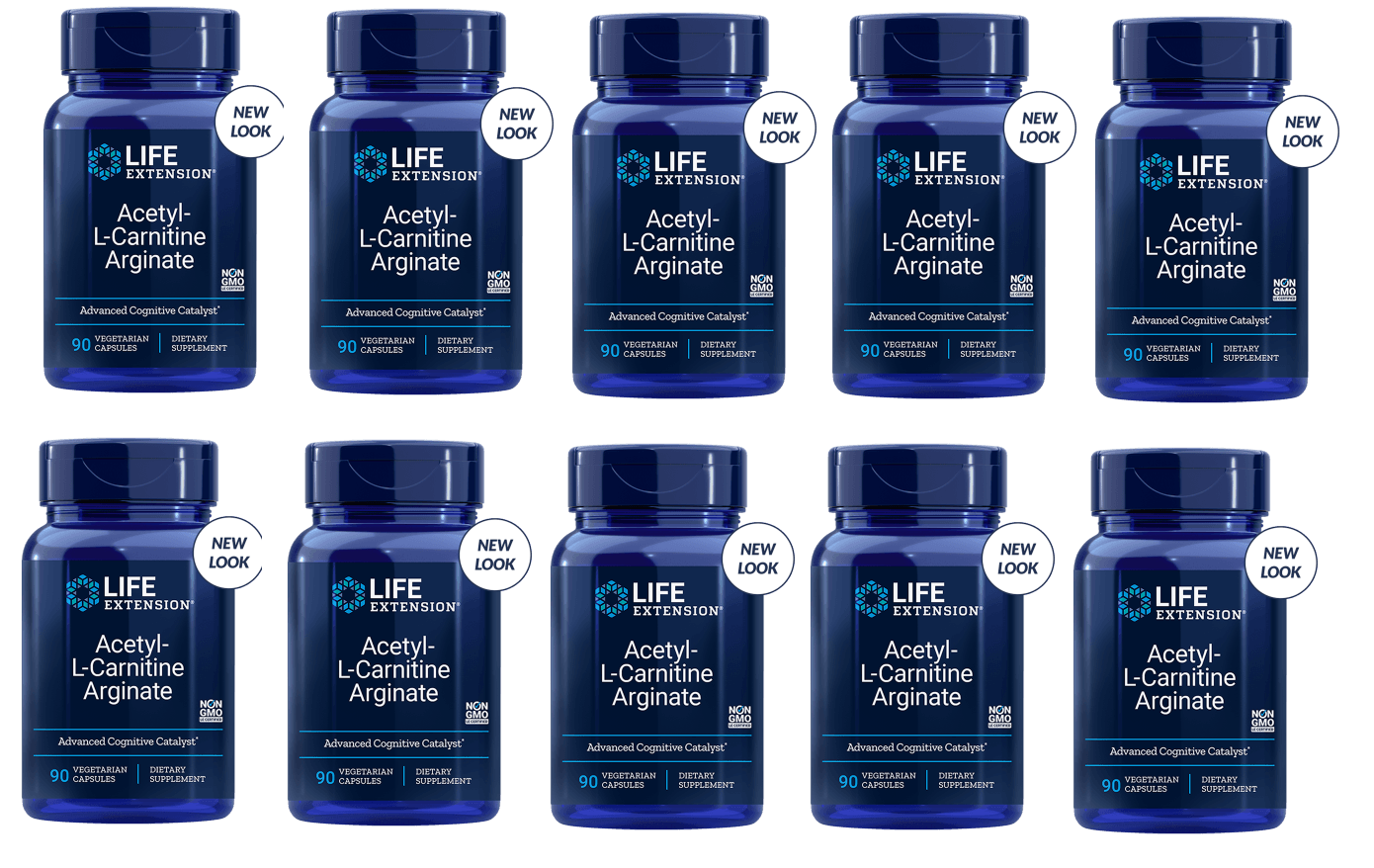 Life Extension Acetyl-L-Carnitine Arginate, 90 Vegetarian Capsules, 10-pack