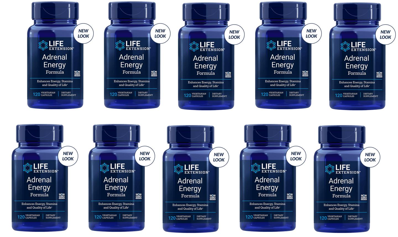 Life Extension Adrenal Energy Formula, 120 Vegetarian Capsules, 10-pack