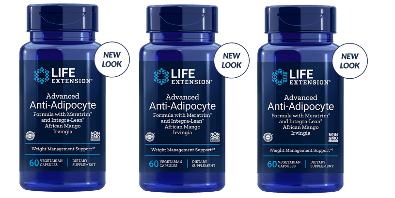 Life Extension Advanced Anti-Adipocyte Formula With Adipostat and Integra-Lean African Mango Irvingia, 60 Vegetarian Capsules, 3-pack