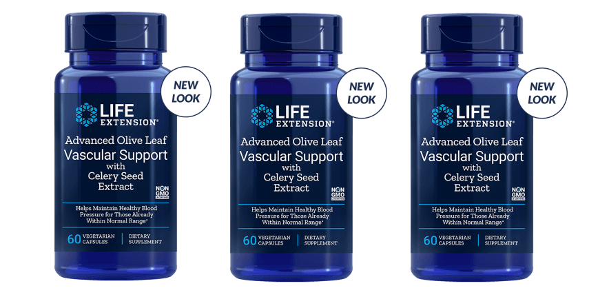 Life Extension Advanced Olive Leaf Vascular Support With Celery Seed Extract, 60 Vegetarian Capsules, 3-pack