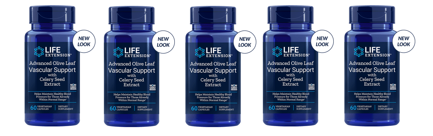 Life Extension Advanced Olive Leaf Vascular Support With Celery Seed Extract, 60 Vegetarian Capsules, 5-pack