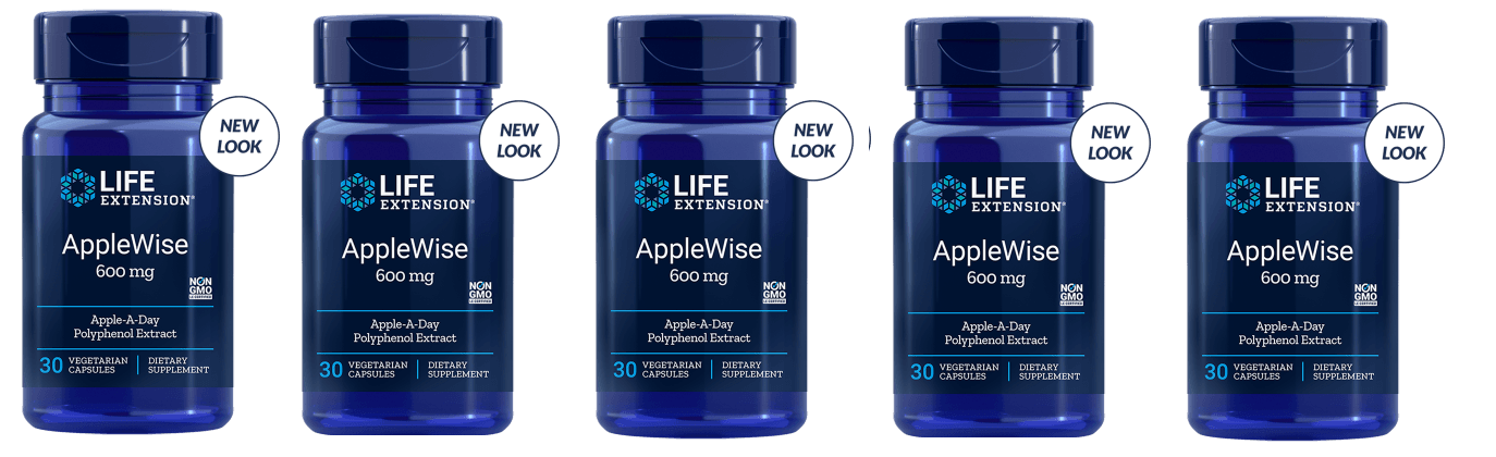 Life Extension Applewise Polyphenol Extract, 600 Mg 30 Vegetarian Capsules, 5-pack