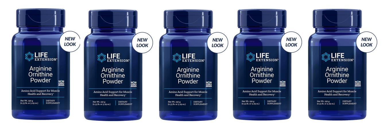 Life Extension Arginine Ornithine Powder, 150 Grams, 5-pack