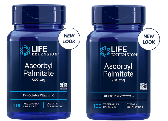 Life Extension Ascorbyl Palmitate, 500 Mg 100 Vegetarian Capsules, 2-pack