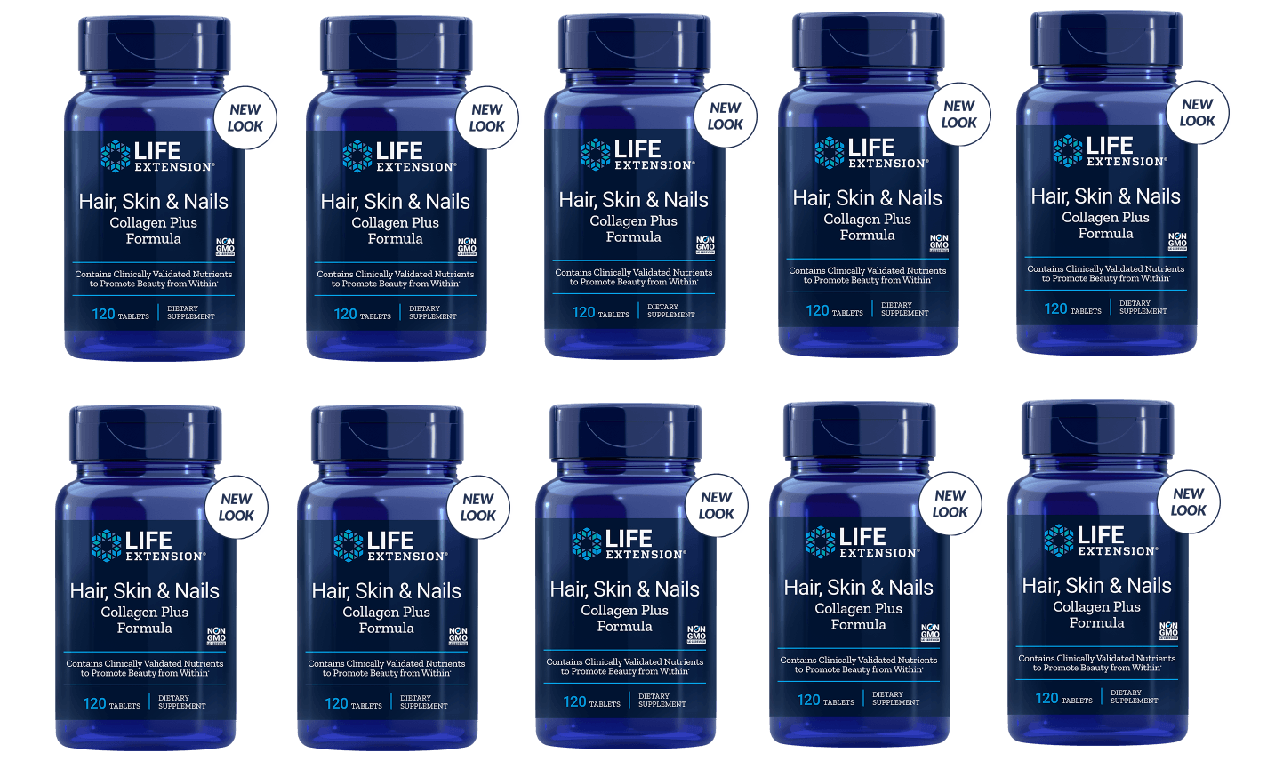 Life Extension Hair, Skin & Nails Collagen Plus Formula, 120 Tablets, 10-packs