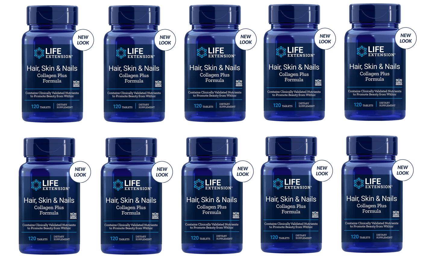 Life Extension Hair, Skin & Nails Collagen Plus Formula, 120 Tablets, 10-packs