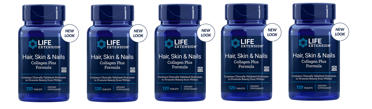 Life Extension Hair, Skin & Nails Collagen Plus Formula, 120 Tablets, 5-packs