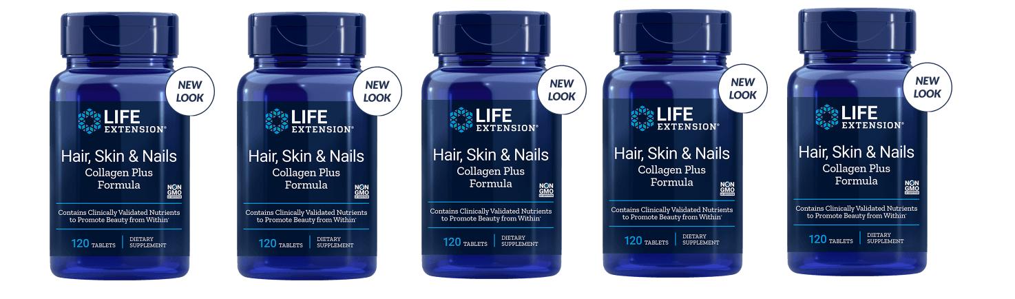 Life Extension Hair, Skin & Nails Collagen Plus Formula, 120 Tablets, 5-packs