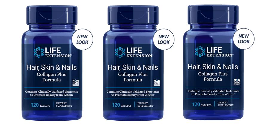 Life Extension Hair, Skin & Nails Collagen Plus Formula, 120 Tablets, 3-packs