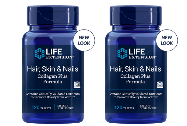 Life Extension Hair, Skin & Nails Collagen Plus Formula, 120 Tablets, 2-packs