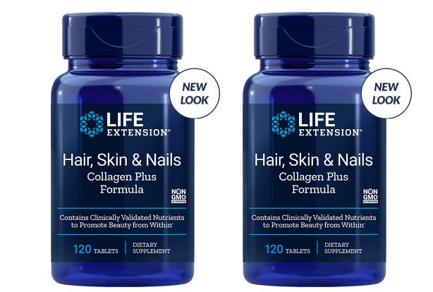 Life Extension Hair, Skin & Nails Collagen Plus Formula, 120 Tablets, 2-packs