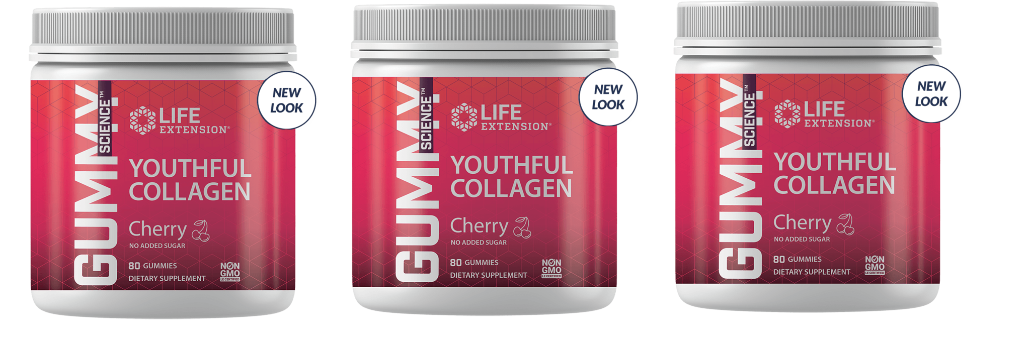 Life Extension Gummy Science™ Youthful Collagen (cherry), 80 Gummies, 3-packs