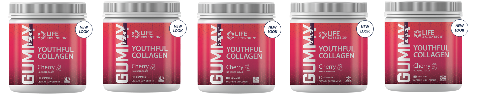 Life Extension Gummy Science™ Youthful Collagen (cherry), 80 Gummies, 5-packs