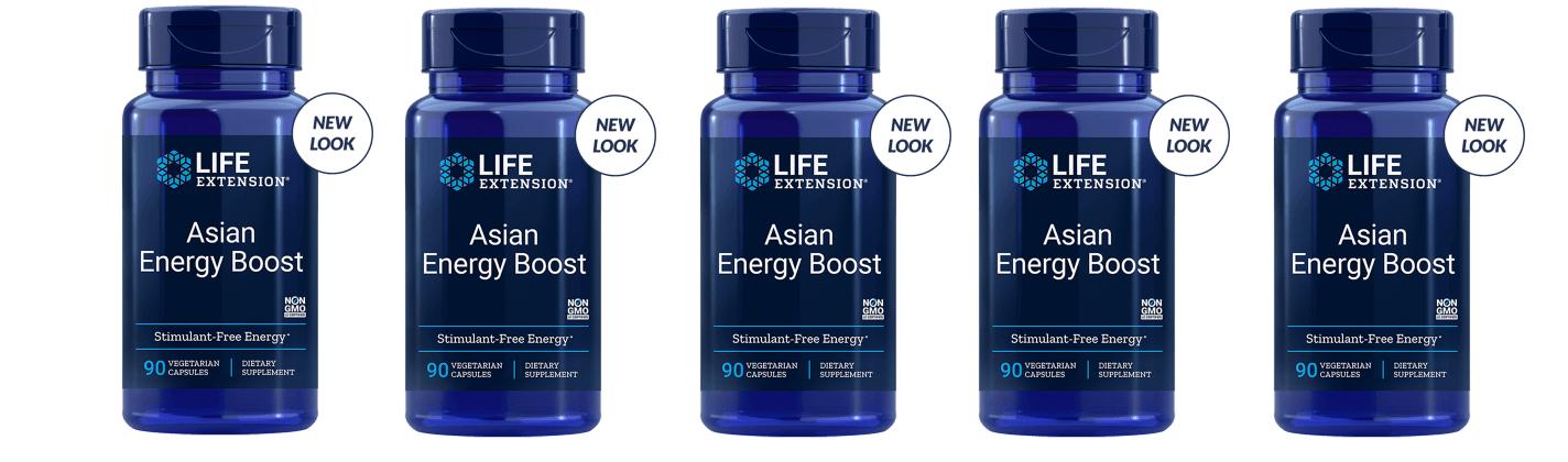Life Extension Asian Energy Boost, 90 Vegetarian Capsules, 5-pack