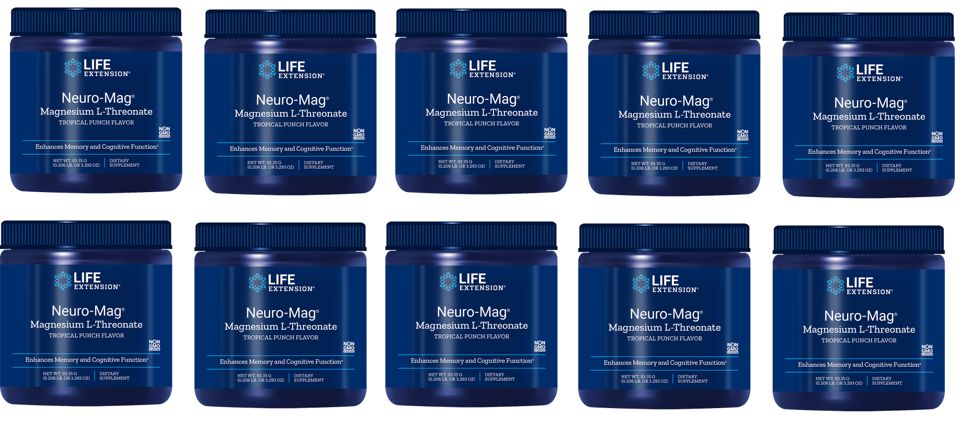 Life Extension Neuro-Mag Magnesium L-Threonate, Tropical Punch Flavor, 10-packs