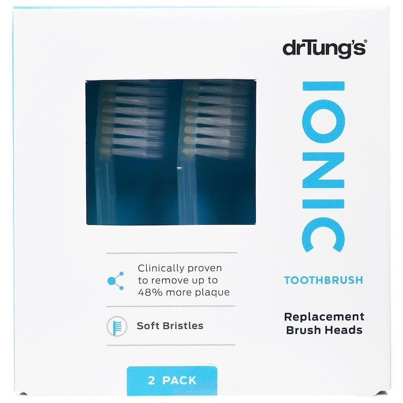 Dental Supps Dr. Tung's, Ionic Toothbrush, Replacement Brush Heads, Soft Bristles, 2 Pack