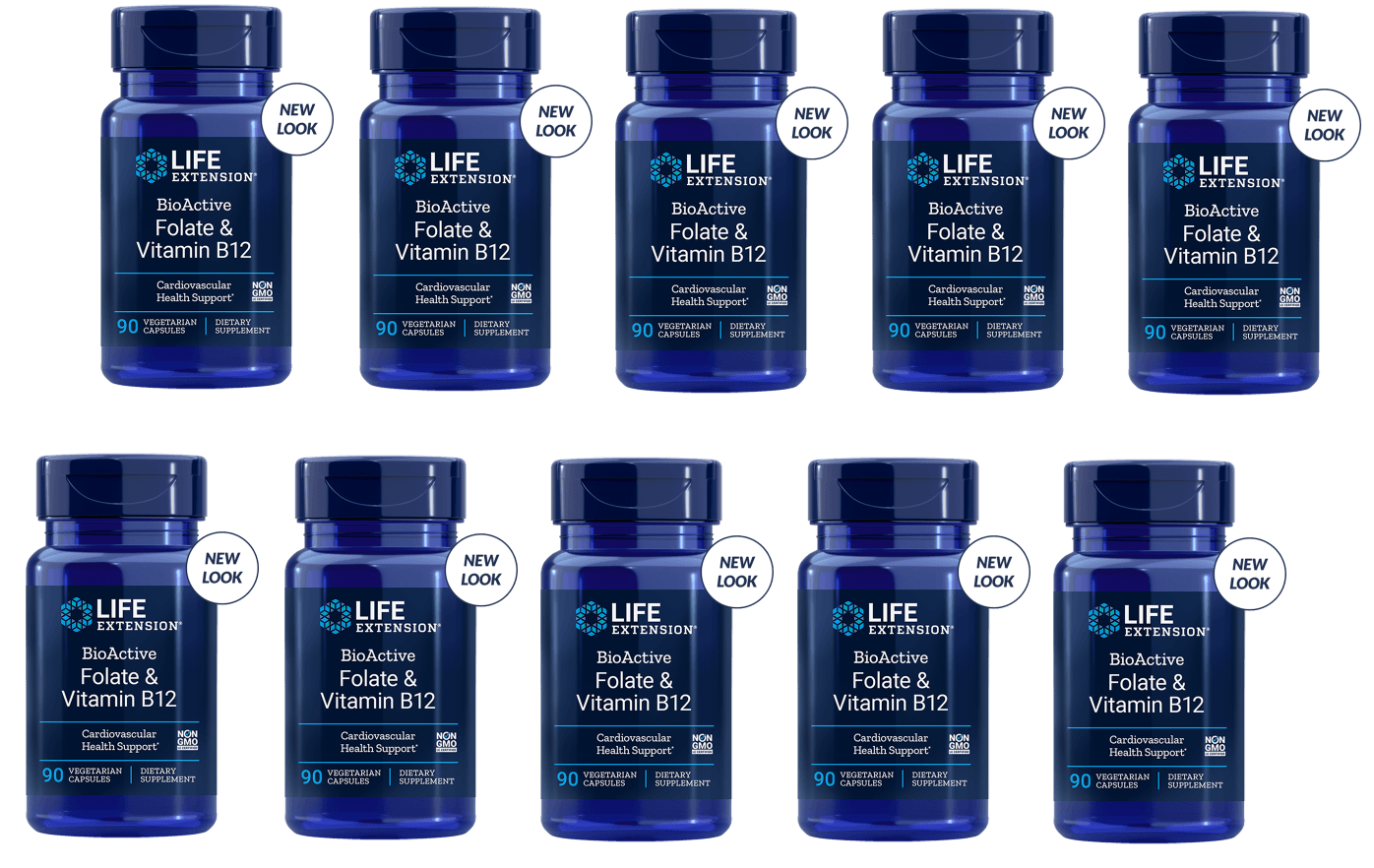 Life Extension Bioactive Folate & Vitamin B12, 90 Vegetarian Capsules, 10-pack