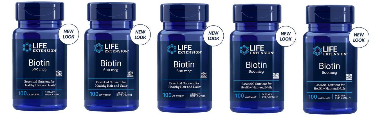 Life Extension Biotin, 600 Mcg 100 Capsules, 5-pack