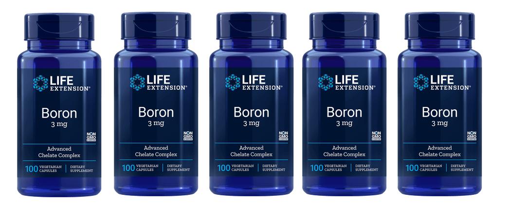 Life Extension Boron, 3 Mg 100 Vegetarian Capsules, 5-pack