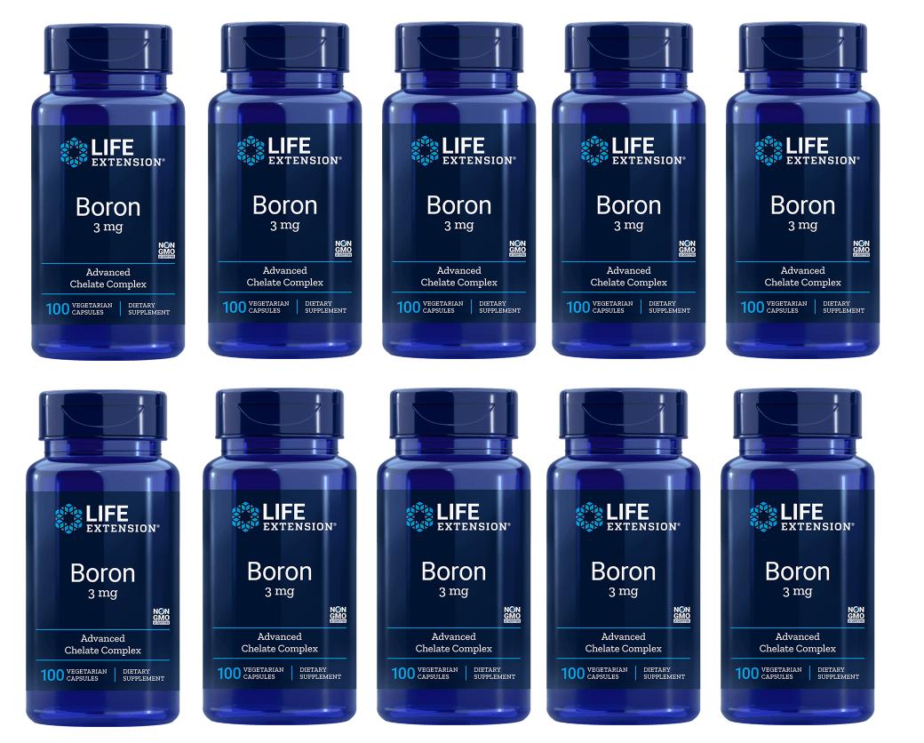 Life Extension Boron, 3 Mg 100 Vegetarian Capsules, 10-pack