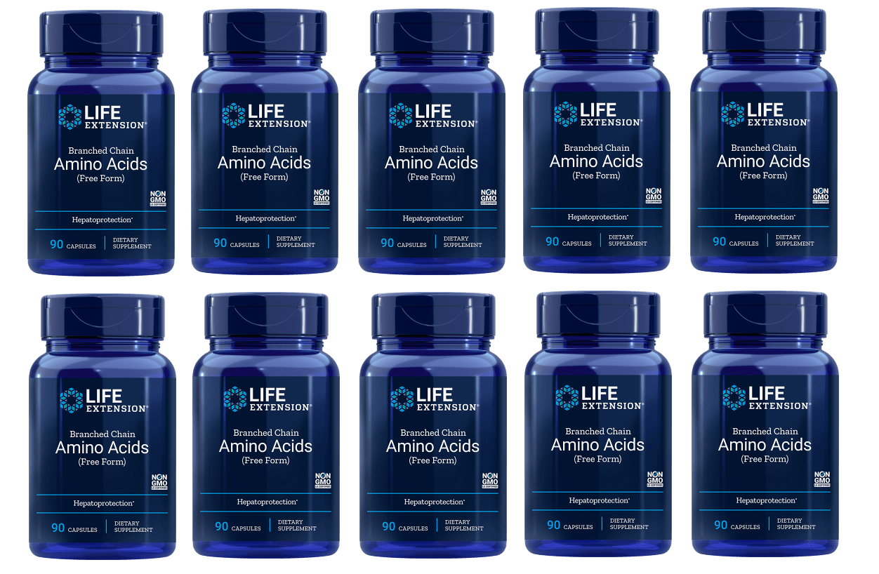 Life Extension Branched Chain Amino Acids, 90 Capsules, 10-pack