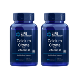 Life Extension Calcium Citrate With Vitamin D, 200 Vegetarian Capsules, 2-pack