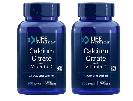 Life Extension Calcium Citrate With Vitamin D, 200 Vegetarian Capsules, 2-pack