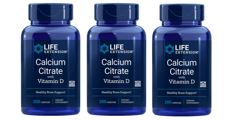 Life Extension Calcium Citrate With Vitamin D, 200 Vegetarian Capsules, 3-pack