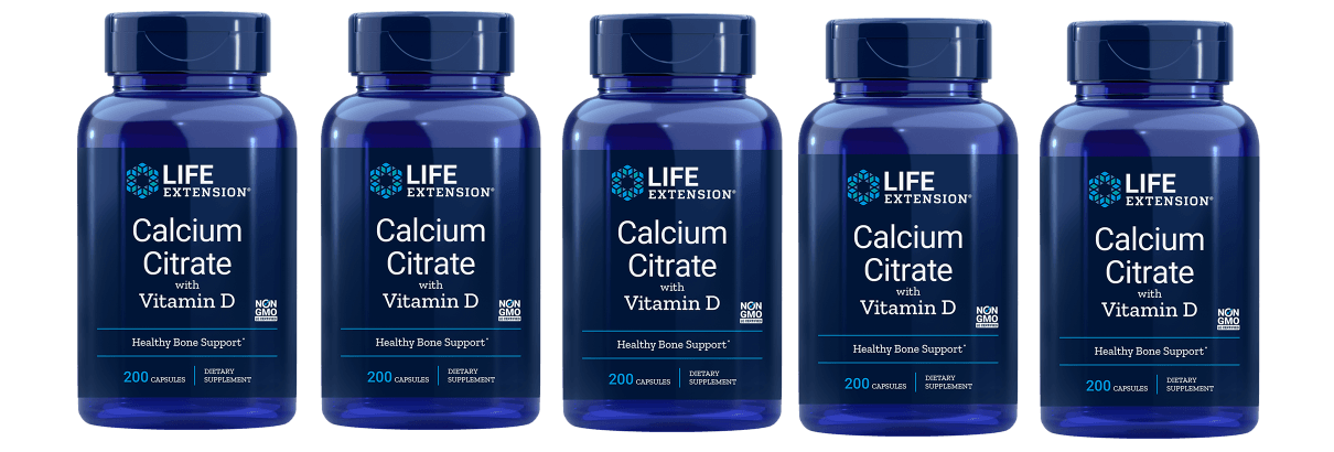 Life Extension Calcium Citrate With Vitamin D, 200 Vegetarian Capsules, 5-pack