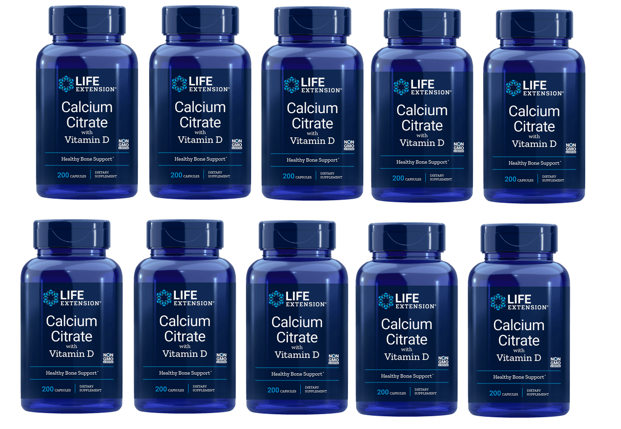 Life Extension Calcium Citrate With Vitamin D, 200 Vegetarian Capsules,10-pack
