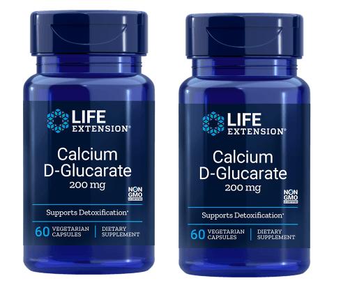 Life Extension Calcium D-Glucarate, 200 Mg 60 Vegetarian Capsules, 2-pack