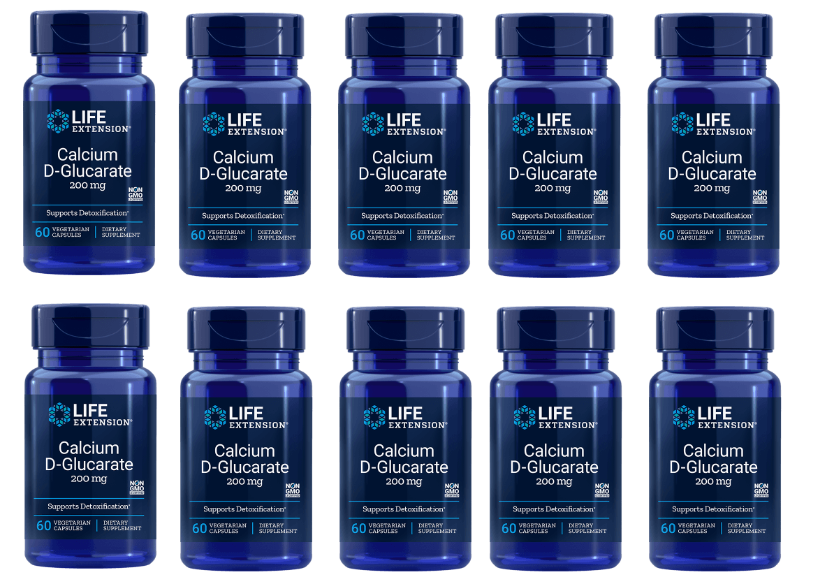 Life Extension Calcium D-Glucarate, 200 Mg 60 Vegetarian Capsules, 10-pack