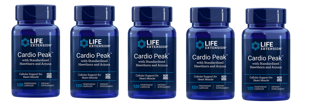 Life Extension Cardio Peak With Standardized Hawthorn And Arjuna, 120 Vegetarian Capsules, 5-pack
