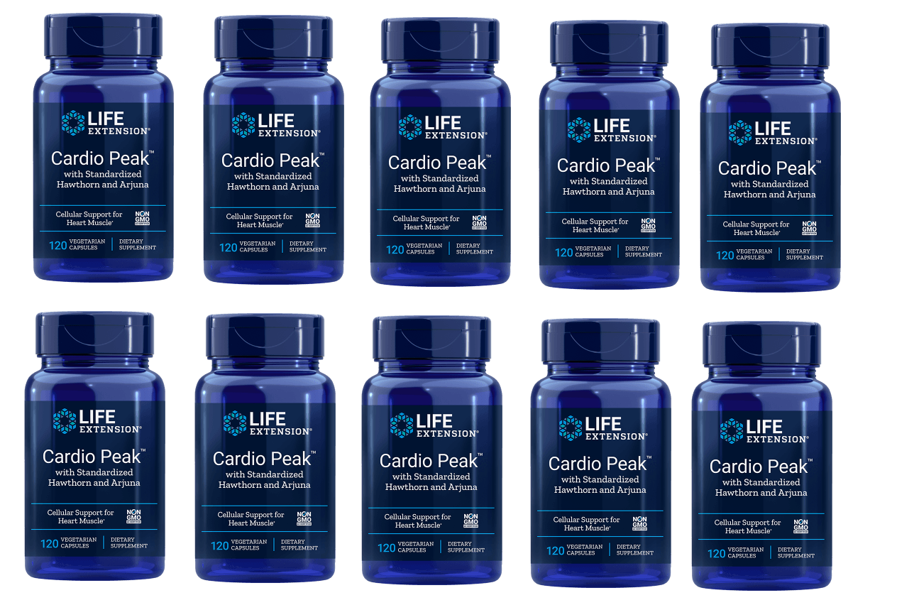 Life Extension Cardio Peak With Standardized Hawthorn And Arjuna, 120 Vegetarian Capsules, 10-pack
