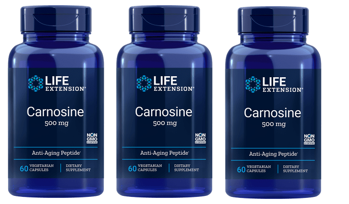 Life Extension Carnosine, 500 Mg, 60 Vegetarian Capsules, 3-pack