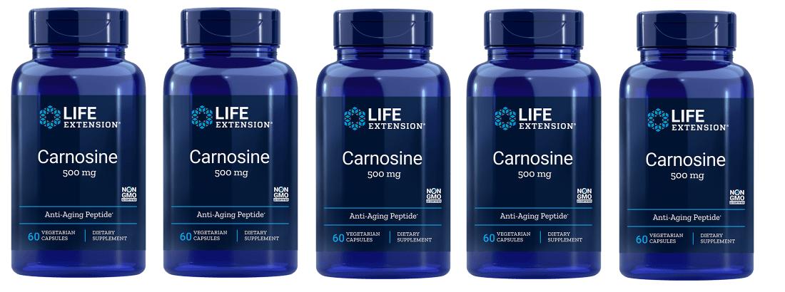 Life Extension Carnosine, 500 Mg, 60 Vegetarian Capsules, 5-pack