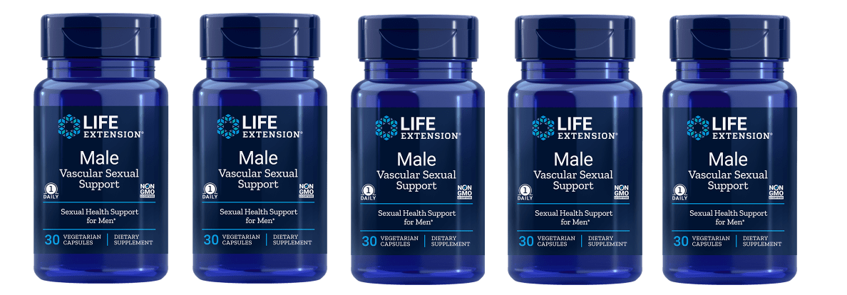 Life Extension Male Vascular Sexual Support, 30 Vegetarian Capsules, 5-packs