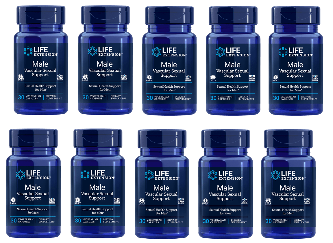 Life Extension Male Vascular Sexual Support, 30 Vegetarian Capsules, 10-packs