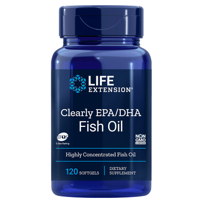 Life Extension Clearly EPA/DHA Fish Oil, 120 Softgels