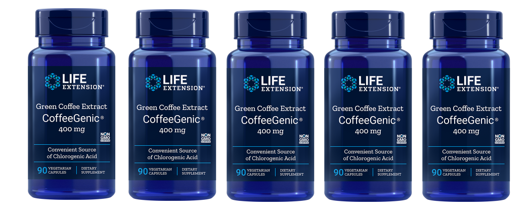 Life Extension CoffeeGenic® Green Coffee Extract, 90 Capsules, 5-packs