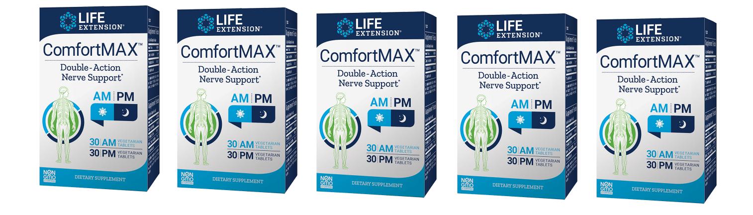 Life Extension ComfortMax™, 30 AM Vegetarian Tablets, 30 PM Vegetarian Tablets, 5-pack