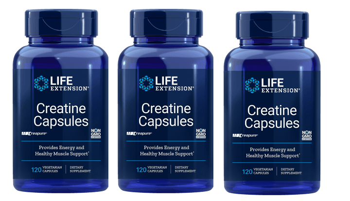 Life Extension Creatine Capsules, 120 Vegetarian Capsules, 3-pack