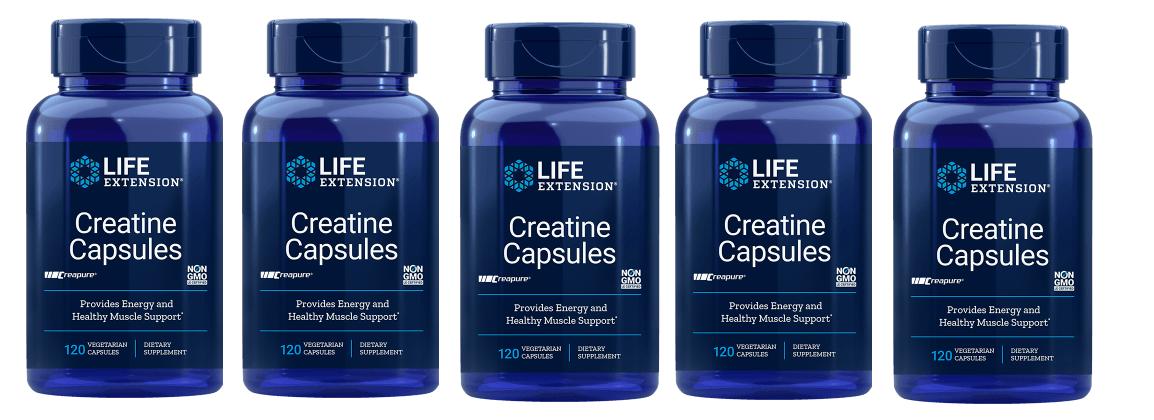 Life Extension Creatine Capsules, 120 Vegetarian Capsules, 5-pack