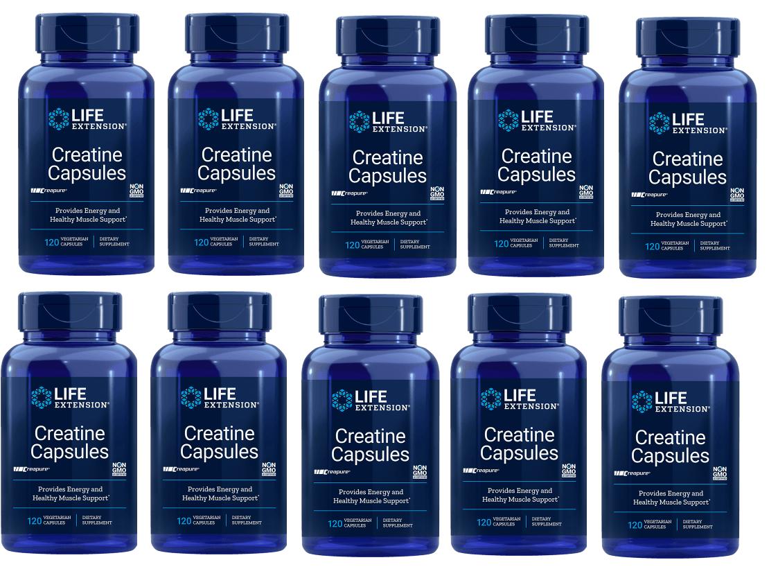 Life Extension Creatine Capsules, 120 Vegetarian Capsules, 10-pack