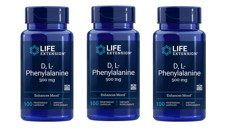 Life Extension D,L-Phenylalanine Capsules, 500 Mg 100 Vegetarian Capsules, 3-pack