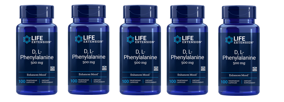 Life Extension D,L-Phenylalanine Capsules, 500 Mg 100 Vegetarian Capsules, 5-pack